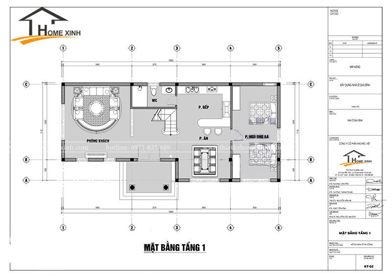 bản vẽ thiết kế biệt thự 2 tầng tại Ninh Bình - Tầng 1