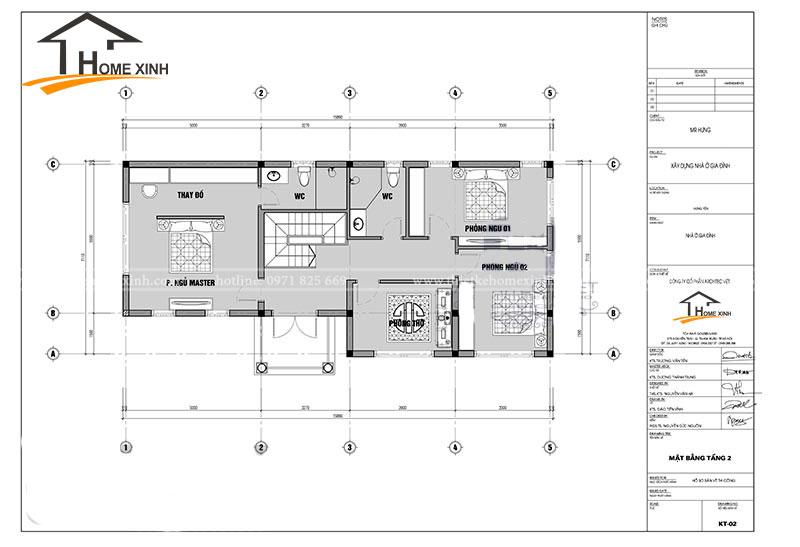 bản vẽ thiết kế biệt thự 2 tầng tại Ninh Bình - Tầng 2