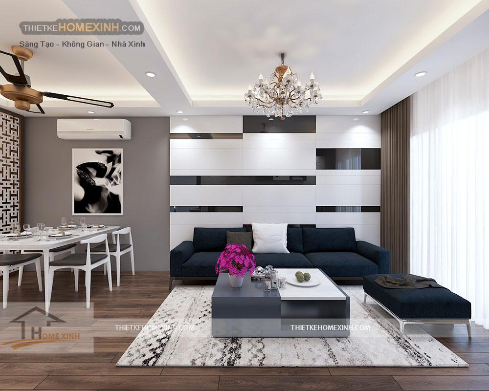 Thiết kế nội thất phòng khách chung cư Golden West 2