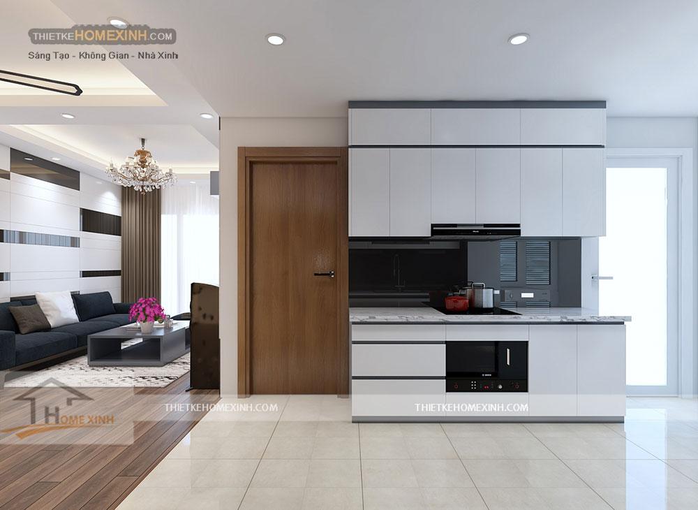 Thiết kế nội thất phòng bếp chung cư Golden West 1