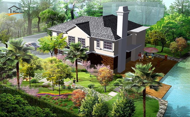 Thiết kế sân vườn biệt thự 2 tầng đẹp