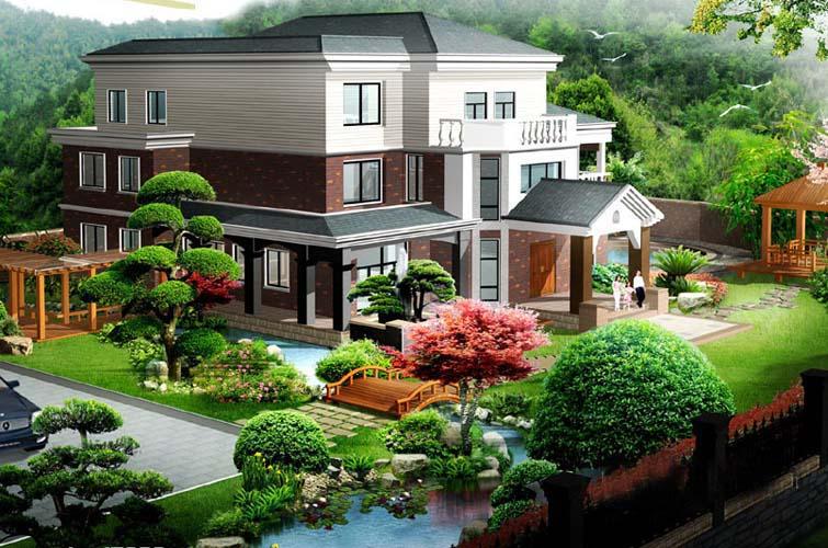 Thiết kế sân vườn biệt thự 3 tầng