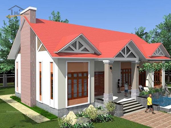 Thiết kế biệt thự mái thái 1 tầng - ảnh 2