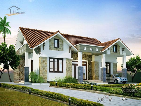 Thiết kế biệt thự mái thái 1 tầng - ảnh 4