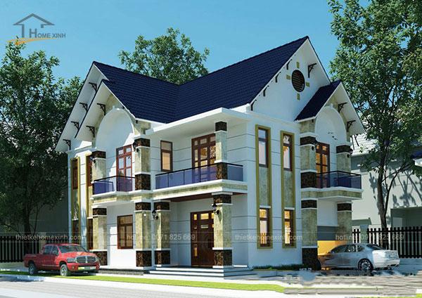 Thiết kế biệt thự mái thái 2 tầng - ảnh 1