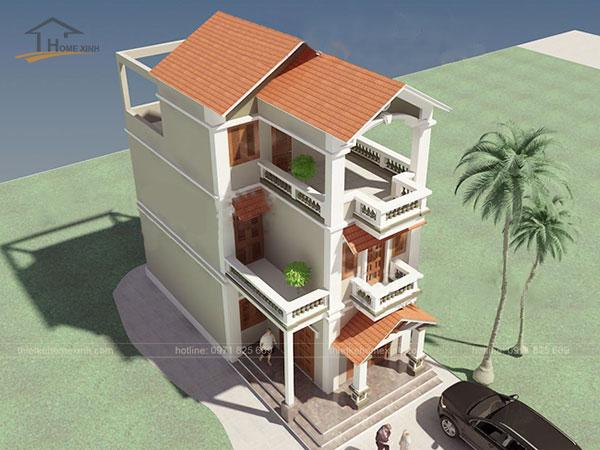 Thiết kế biệt thự mái thái 3 tầng - ảnh 1