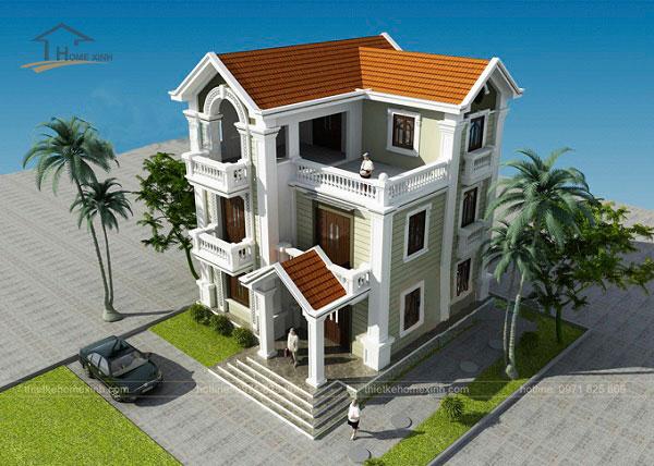 Thiết kế biệt thự mái thái 3 tầng - ảnh 2