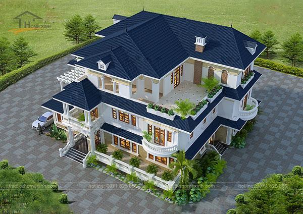 Thiết kế biệt thự mái thái 3 tầng - ảnh 3