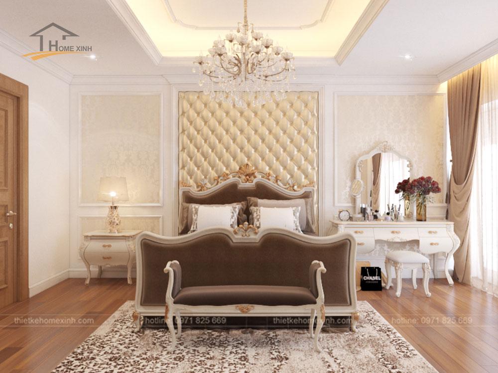 Phòng ngủ master nhà phố tân cổ điển sang trọng