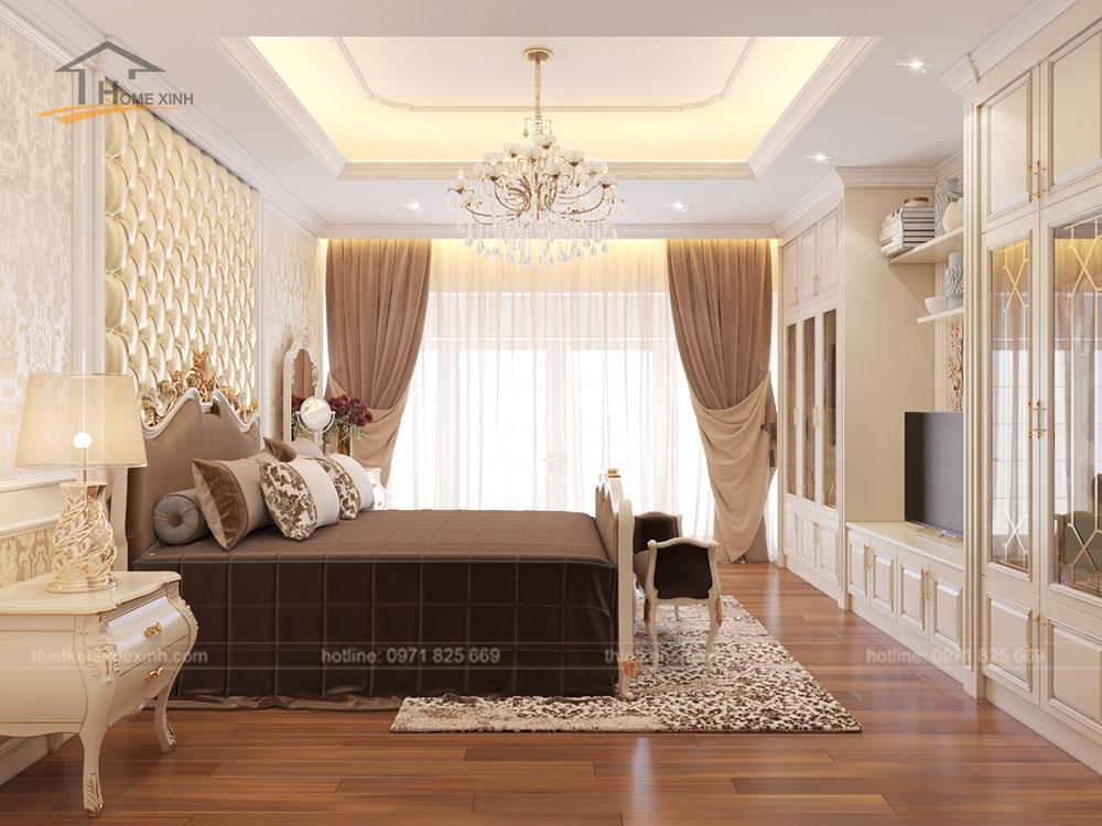 Ánh sáng được kết hợp hài hòa trong nội thất phòng ngủ master nhà phố tân cổ điển