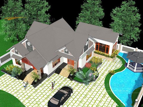 Thiết kế biệt thự mái thái 1 tầng - ảnh 1