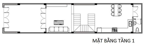 Bản vẽ cad tầng 1 mẫu thiết kế nhà phố 4x16m tại Nam Định