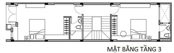 Bản vẽ cad tầng 3 mẫu thiết kế nhà phố 4x16m tại Nam Định