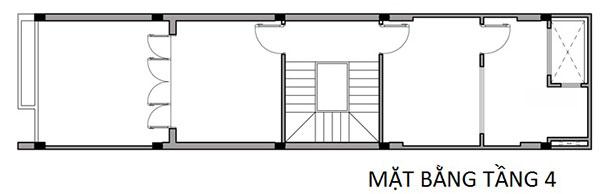 Bản vẽ cad tầng 4 mẫu thiết kế nhà phố 4x16m tại Nam Định