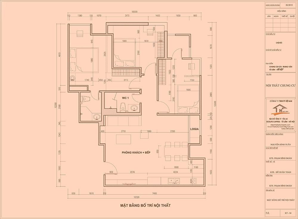 Bản vẽ thiết kế căn hộ chị hải tại chung cư CT3 Trung Văn 110m2