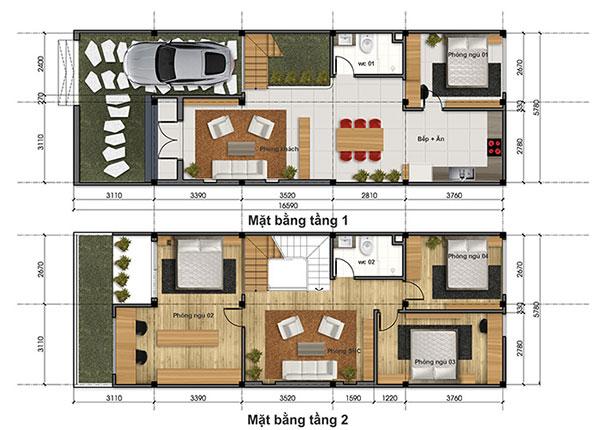 Bản vẽ thiết kế nhà phố 6x17m mặt bằng tầng 1 và tầng 2