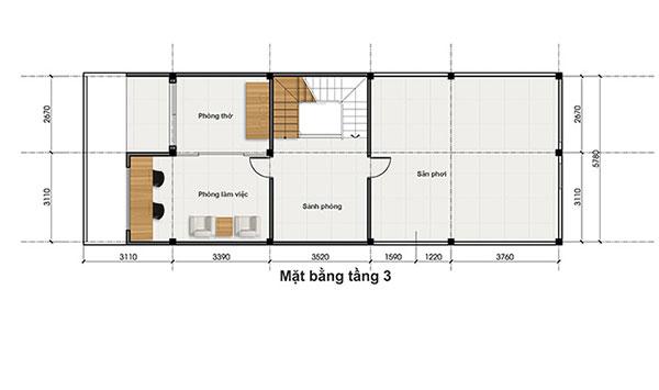 Bản vẽ thiết kế nhà phố 6x17m mặt bằng tầng 3