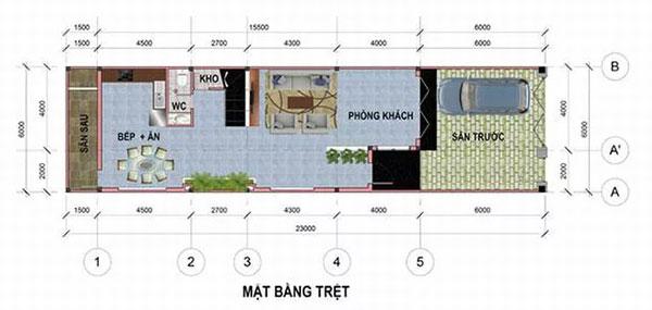 Bản vẽ thiết kế nhà phố 6x17m đẹp 4 tầng tại Bình Dương - tầng 1