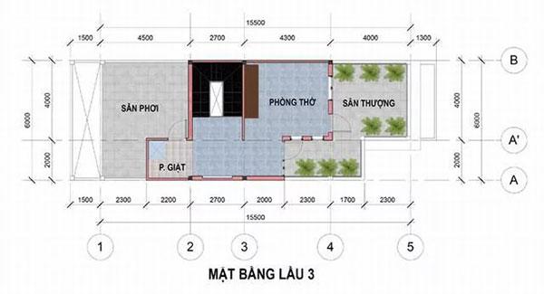 Bản vẽ thiết kế nhà phố 6x17m đẹp 4 tầng tại Bình Dương - tầng 4