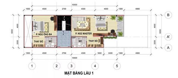 Bản vẽ thiết kế nhà phố 6x17m đẹp 4 tầng tại Bình Dương - tầng 2