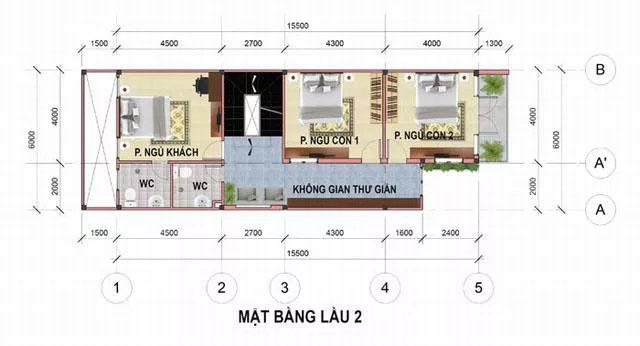 Bản vẽ thiết kế nhà phố 6x17m đẹp 4 tầng tại Bình Dương - tầng 3