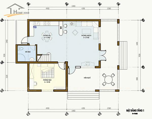 Bản vẽ thiết kế nhà phố 7x12m tầng 1