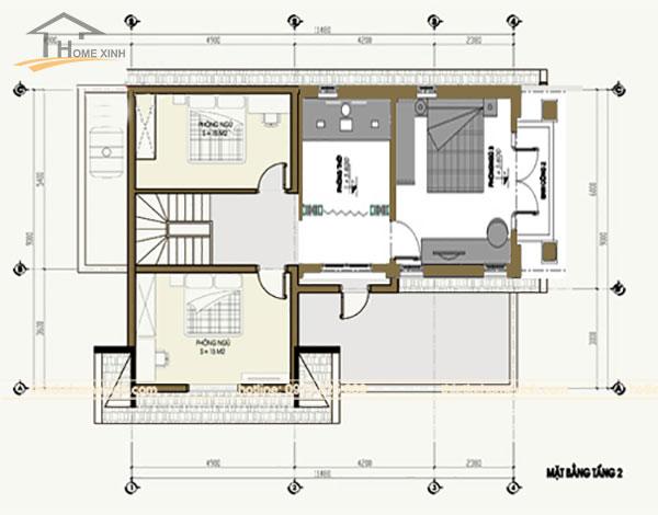 Bản vẽ thiết kế nhà phố 7x12m tầng 2