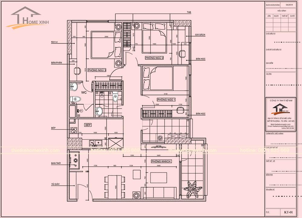 Bản vẽ thiết kế nội thất căn hộ chung cư tại CT14 Greenpark