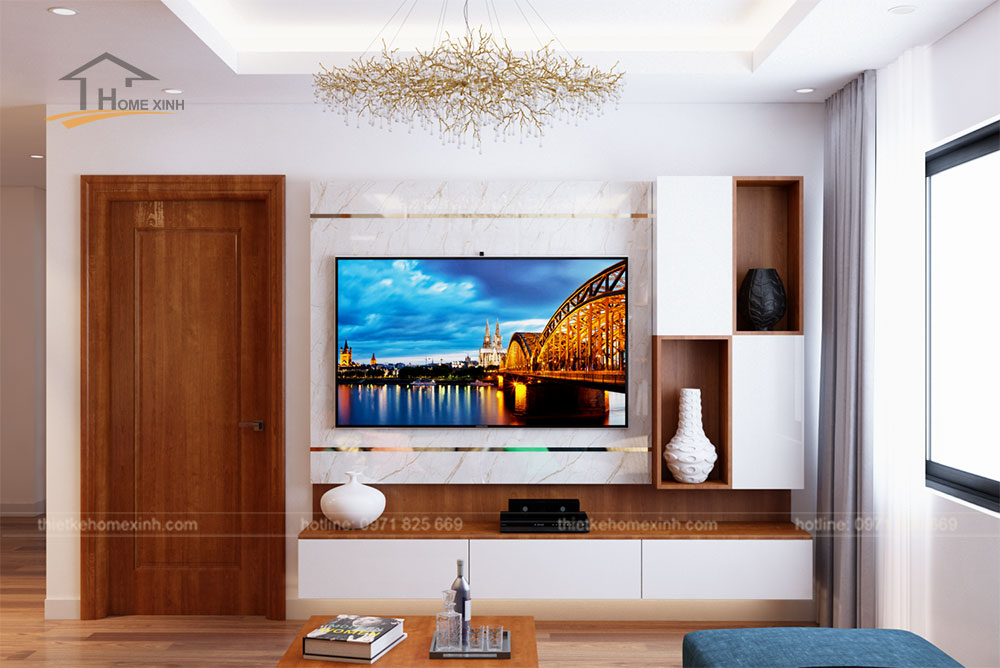 Kệ tivi gọn gàng theo phong cách hiện đại