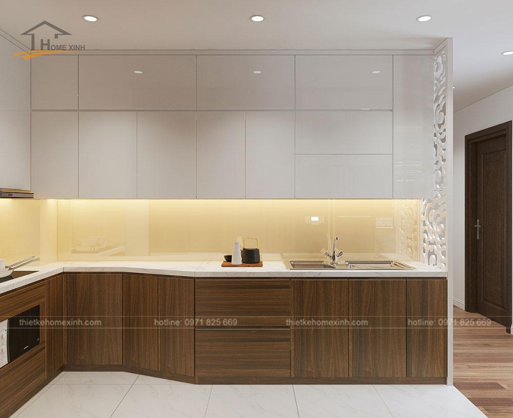 Không gian bếp sử dụng chất liệu gỗ công nghiệp