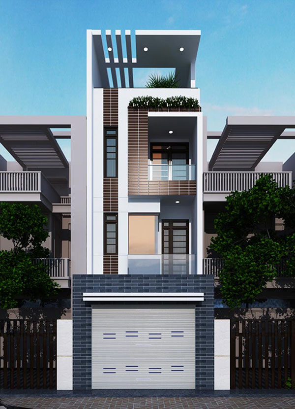 Mặt tiền thiết kế nhà phố 4x16m 4 tầng tại Nam Định