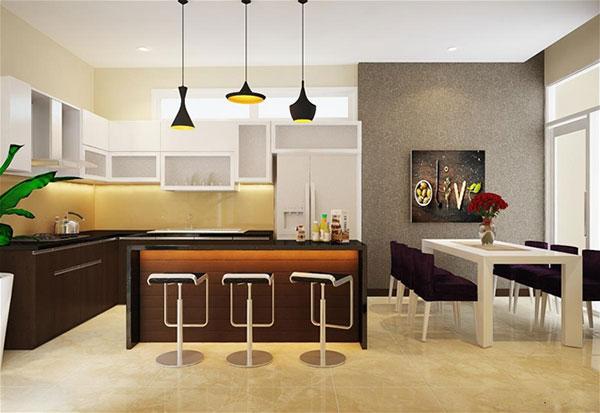 Nội thất phòng bếp nhà phố 6x17m 2 tầng tại Tiền Giang