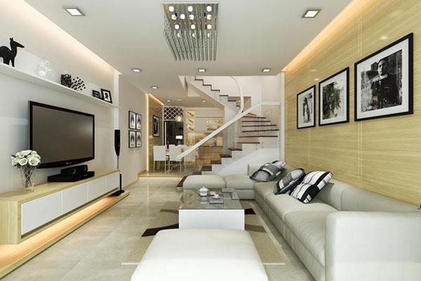 Nội thất phòng khách màu trắng