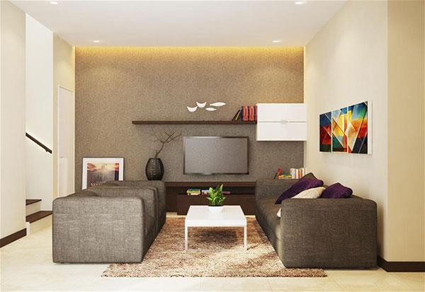 Nội thất phòng khách nhà phố 6x17m 2 tầng tại Tiền Giang