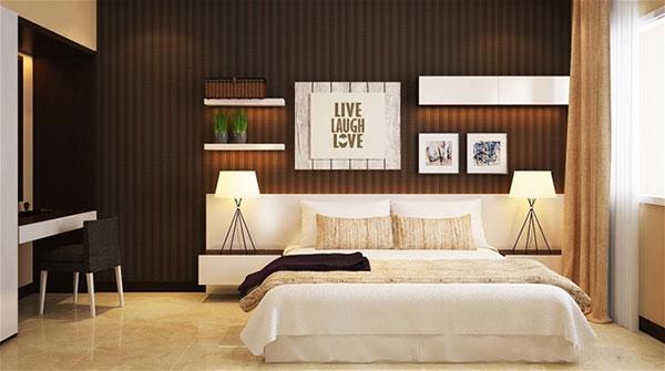 Nội thất phòng ngủ khách nhà phố 6x17m 2 tầng tại Tiền Giang
