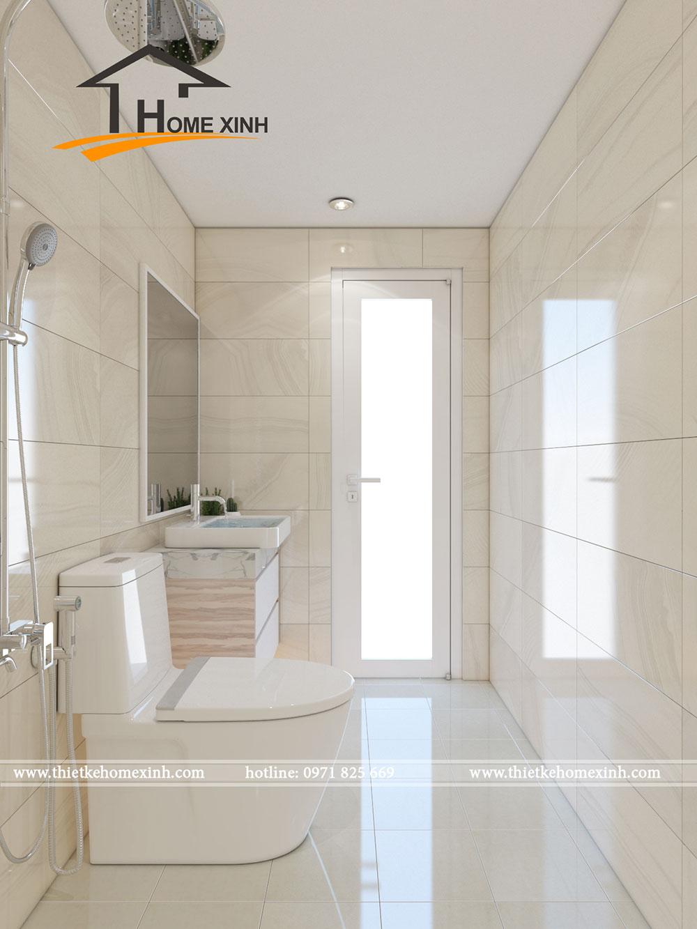 Phòng vệ sinh trong phòng ngủ master được thiết kế với màu sắc trắng sáng