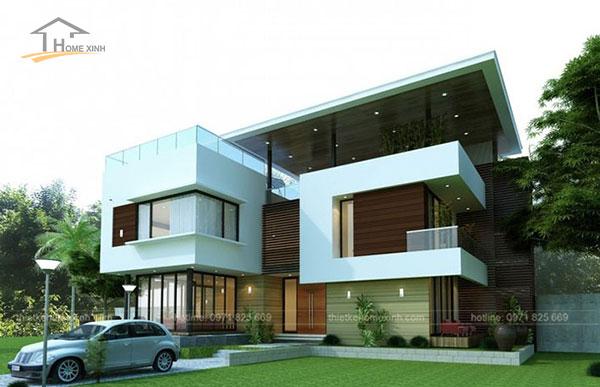 Mẫu thiết kế biệt thự mini 2 tầng hiện đại với các đường góc, hình khối bắt mắt.
