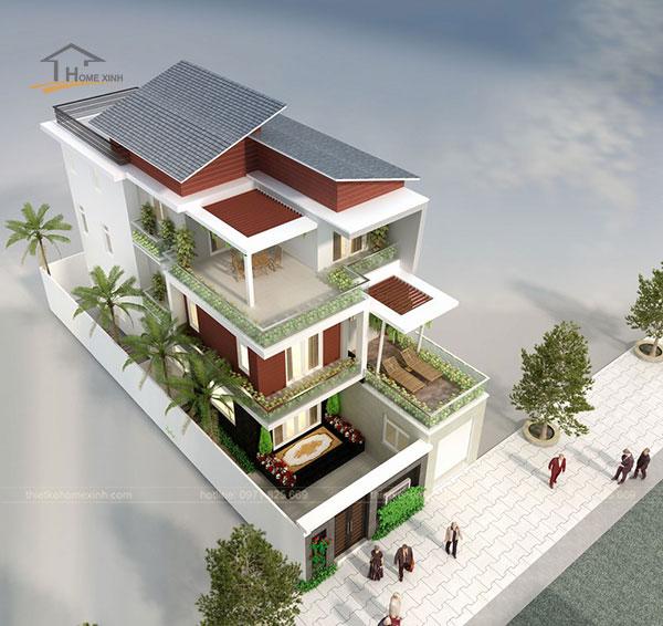 Mẫu thiết kế biệt thự mini hiện đại 3 tầng, ở tầng 2, tầng 3 được bố trí các khu vực ngắm cảnh.