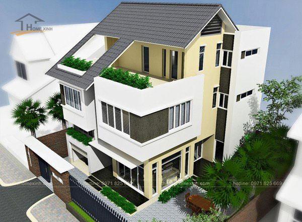 Thiết kế biệt thự mini đẹp với sự cân xứng của cổng chính, hàng rào và nhà.