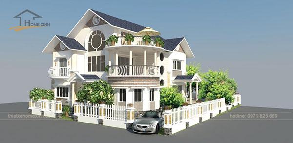 Một kiến trúc biệt thự mini kiểu Pháp kết hợp cùng hệ thống cây xanh mềm mại.