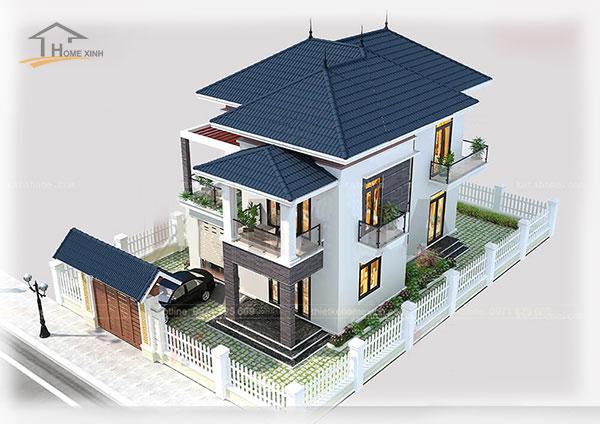 Thiết kế biệt thự mini hiện đại, mái ngói màu xanh và tường nhà màu xám trắng.