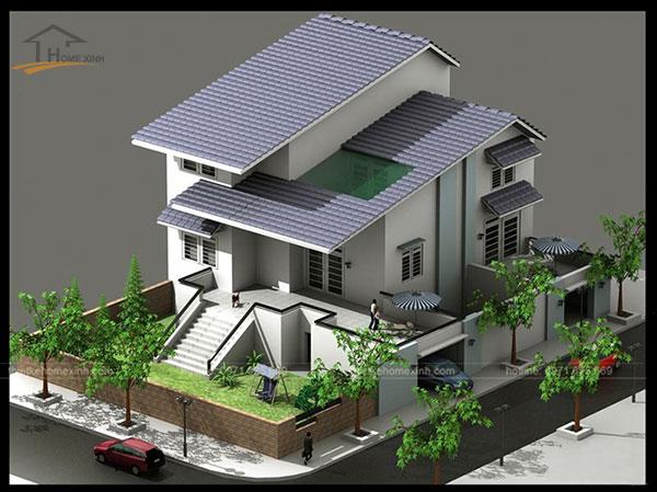 Mẫu thiết kế biệt thự mini 2 tầng kiểu mái thái thường được nhiều gia chủ lựa chọn cho mảnh đất 2 mặt tiền.