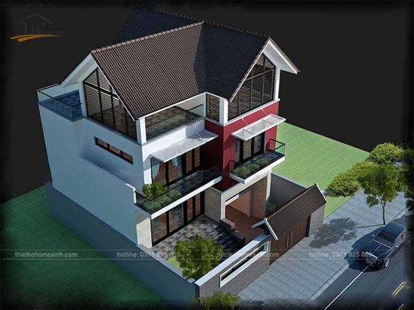 Thiết kế biệt thự mini 3 tầng kết hợp hài hòa màu sắc ngoại thất. Mái ngói màu nâu cùng sơn tường màu đậm tạo ra sự nổi bật.