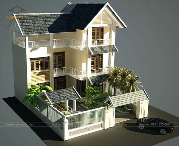 Thiết kế biệt thự mini 3 tầng đẹp thường thấy ở các vùng nông thôn.