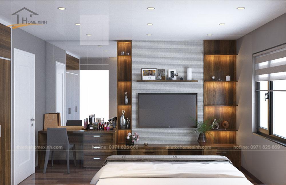 Thiết kế kệ tivi trong phòng ngủ master