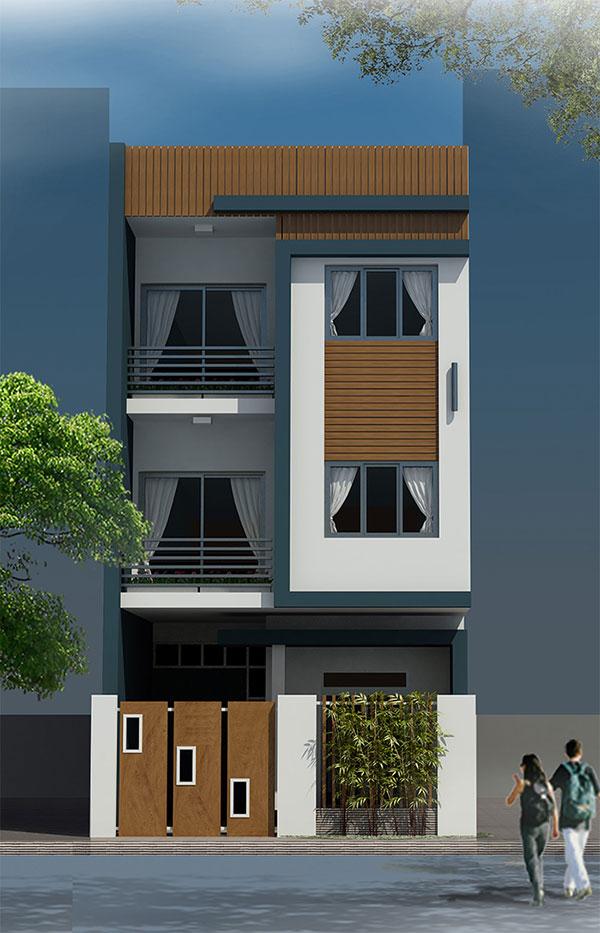 Mặt tiền thiết kế nhà phố 6x17m 3 tầng tại Lạng Sơn