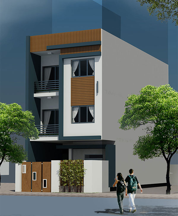Thiết kế nhà phố 6x17m 3 tầng tại Lạng Sơn góc nhìn bên phải