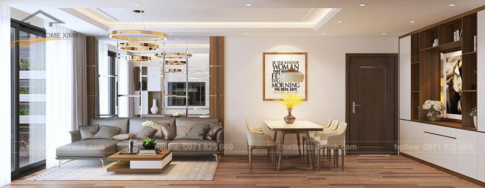 Thiết kế nội thất phòng khách liền bàn ăn