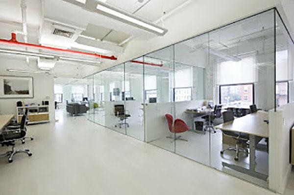 Toàn bộ không gian của văn phòng sử dụng kính