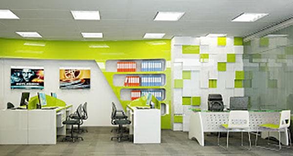 Thiết kế văn phòng với tone màu xanh lá hiện đại